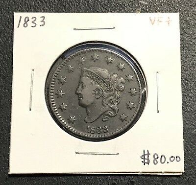 1833 U.s. Coronet Head Large Cent ~ Vf+ Condition! $2.95 Max Shipping! C189