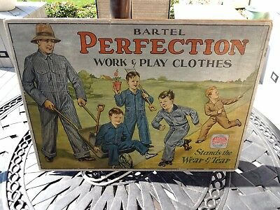 Vintage 1920 Bartel Perfection Work & Play Clothes Litho Sign from Richmond Ind