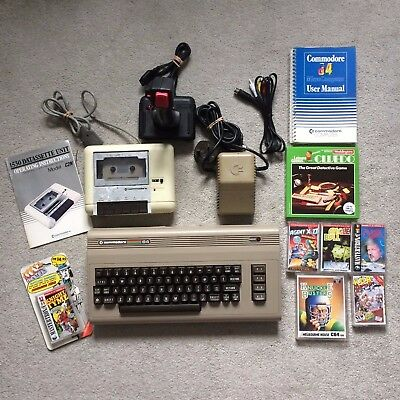 Commodore 64 C64 Breadbin computer bundle with cassette deck, joystick and games