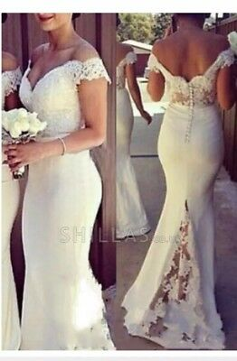 White Off The Shoulder Train Lace Maxi Bridesmaids Dress Wedding