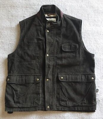 Orvis Men's Outdoor Corduroy Vest Leather Trim Check Lining XL NEW #D6
