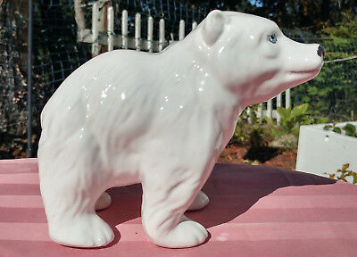 Ceramic Hand Painted Polar Bear 6 1/2 Inches Long 5 1/2 Inches High