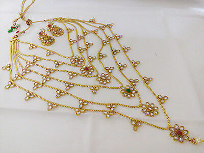 Indian Jewelry Satlara Long Necklace Bollywood Ethnic Gold Plated Traditional