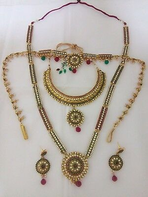 indian Fashion jewelry bridal necklace set earring bollywood ethnic wedding set