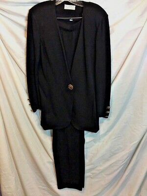 St John Collection Marie Gray Santana 2pc Black Jacket and Pants Suit Size 6