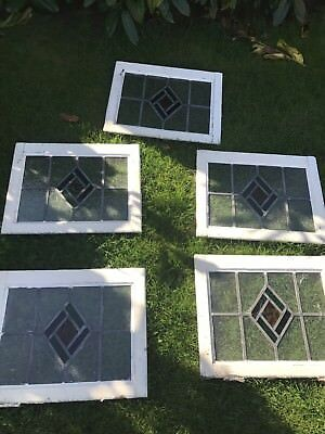5 Original 1930's Stained Glass Leaded Light windows
