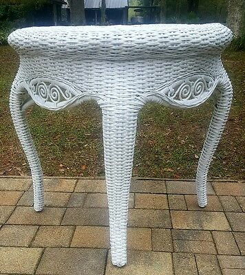 Vintage white wicker demi lune console table Cottage victorian coastal style