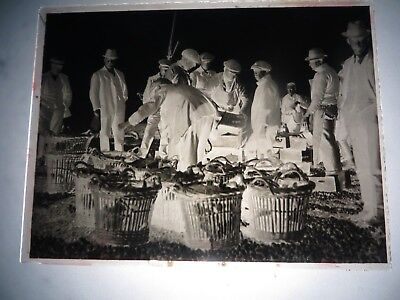 Nine boxed vintage 1921 negatives, 6 glass, incl people,markets,beach,hastings.