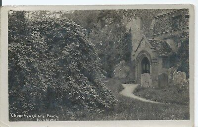 Postcard - Churchyard and Porch Dumbleton Sussex posted 1920