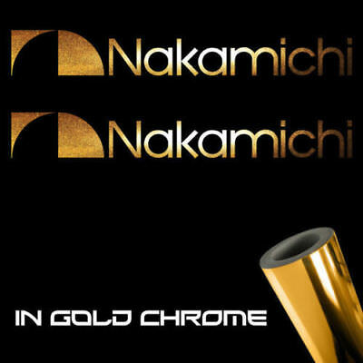 "2x Nakamichi Decal Stickers 6.0"" x 0.7"" gold chrome logo die cut pro audio"