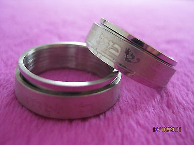 Silver Stainless Steel Spinning Ring Shema Israel Prayer Charm Size 19 Judaica