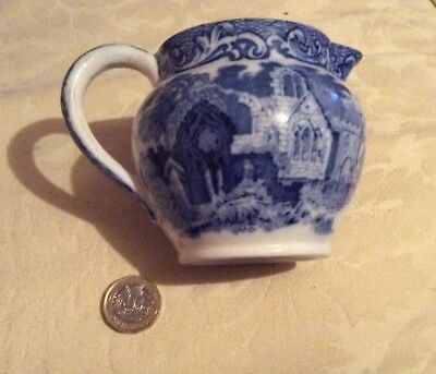 ANTIQUE c1891 GEORGE JONES BLUE AND WHITE TRANSFER PRINT JUG,ABBEY 1720 PATTERN.