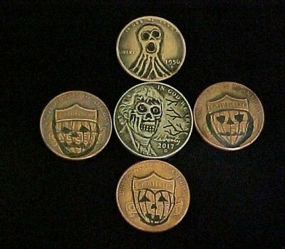 5 Halloween Theme Lot Hand Carved Coins Hobo Nickels Folk Art  OHNS 1304