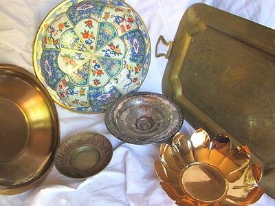 Decorative Metal Dish Lot: 5 Misc. Dishes and 1 Tray