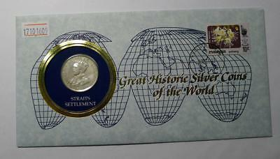 COINS OF ALL NATIONS 1920 Straits Settlements 50 Cents Silver Coin