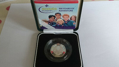 Royal Mint 2007 50 pence Silver proof piedfort Scouts Be prepared