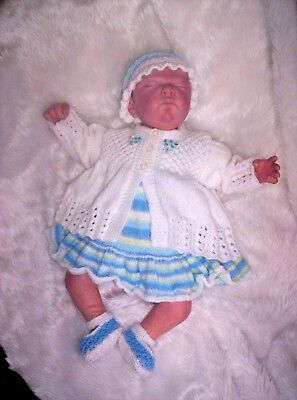 "Sweet Hand Knitted Dress and Jacket Set Reborn Baby 17"" - 19"" or Early Baby"