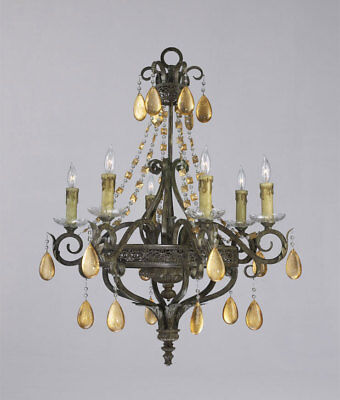 Old World Six Light Tuscan Wrought Iron and Gold Leaf Crystal Chandelier