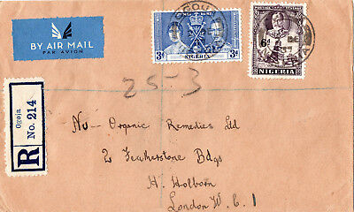 NIGERIA - 1937 Empty Envelope..Registered Air Mail Letter To London.