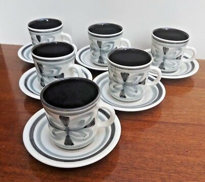 Cinque Ports Pottery The Monastery Rye x6 Cups & Saucers Handpainted Grey Tones