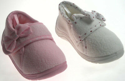 Toddler Girl Rubber sole fleece Slipper polka dot bow detail and foot strap