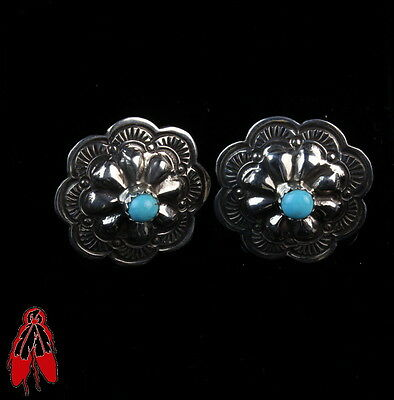 Repousse sterling silver .925 turquoise concho earrings vintage Navajo old pawn