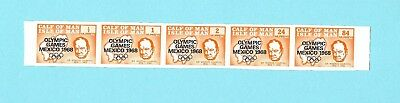 Calf of Man - 1968 - Olympic Games Mexico - 5 stamp orange imperforated strip