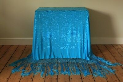 Stunning Vintage Silk Turquoise Blue Piano Shawl Hand Embroidered Flowers Roses