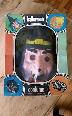 Vintage Halloween Witch Glow Mask & Costume Bland Charnas