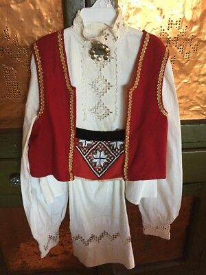 Authentic Vintage Hardanger Beaded Bunad With Solge Brooch XS/S No Skirt Norway