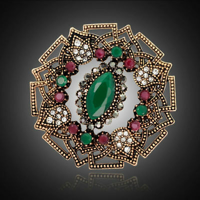 Green Rhinestone Round Brooch Pin Accessories For Lady Women Wedding Gifts