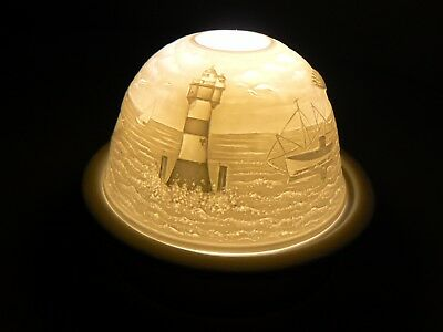 Roman LIGHTHOUSE DOME Light Ceramic Sailboat Water Bird Flying