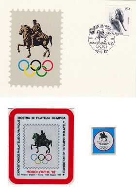 1982 Rome IOC Session 16 different items philatelie, cachet, red meter, stickers