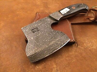Handmade Pattern Welded Damascus Steel Axe-Functional-Bush Craft-Camping-Dh101