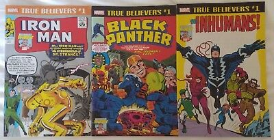 Lot of 3 TRUE BELIEVERS Iron Man, Black Panther, and Inhumans #1