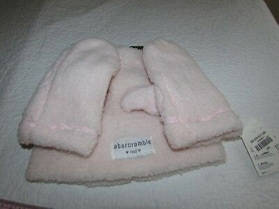 Abercrombie & Fitch Kids Girl S / M  Beanie Hat Cap Gloves Mittens Set Pink BNWT