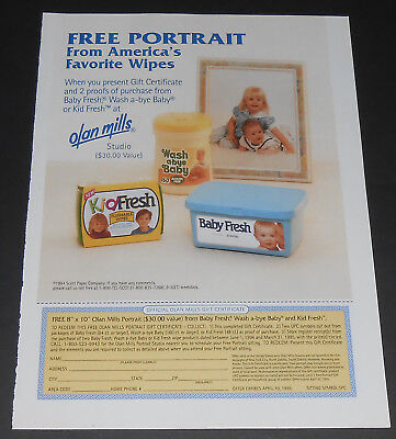 1994 vintage print ad - BABY FRESH WIPES - OLAN MILLS - 1 PAGE ADVERT kid diaper
