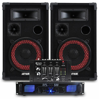 """2x Skytec 8"""" PA Party Speakers + Amplifier + DJ Mixer + Cables Disco System 500W"""