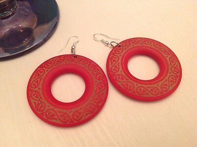 1970s Danish Modernist Art Deco, Wooden Red Circular, 925 back Earrings....