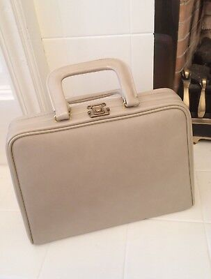 Cream Vintage Vanity Case with Red Lining