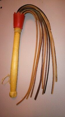 Martinet cuir ancien, Cat o' nine tails, fouet, whip, used, Peitsche