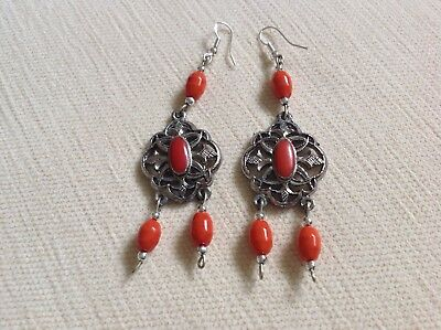Danish Modernist Art Deco Coral Silver 925 hooked Metalwork Earrings....