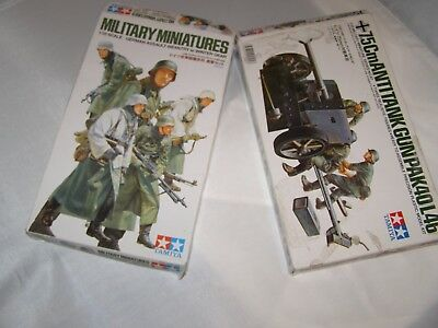 tamiya model german infantry soldier and anti tank gun kit 1:35 scale