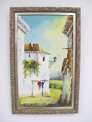 """Mexican Villa Town Villager Painting Signed Framed 11.5 x 18"""""""