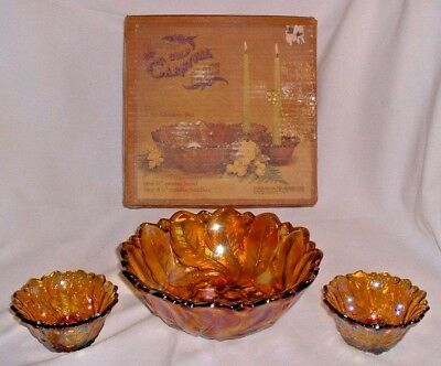 Vintage Indiana Amber Carnival Glass 3 Piece Wild Rose Pattern Console Set #1211
