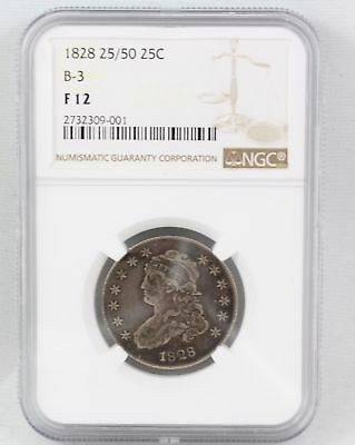 1828 United States 25 Cent Quarter - VERY RARE 25/50 B-3 - NGC FINE 12