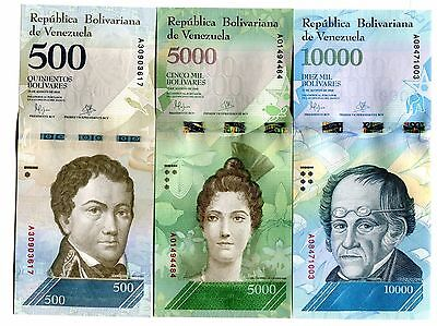 Venezuela 500 5000 10000 Bolivares 2016 2017 P New Set 3 Pcs Unc