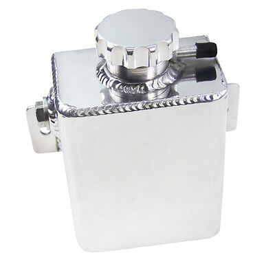 Aluminium Fabricated Coolant Expansion Catch Tank Can With Cap Silver Universal