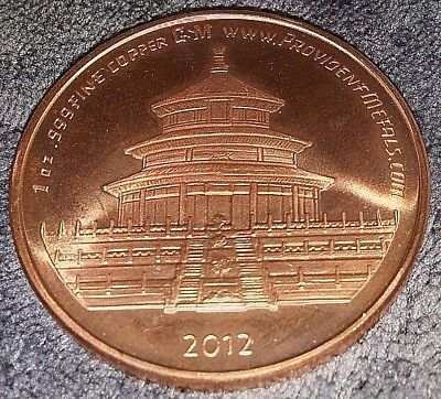2012 (year of the dragon) 1oz Copper Round Coin from Provident Metals