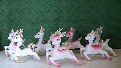 8 Vintage 1950's Christmas Plastic Doe Eyed Reindeer Noel Deer -  Hong Kong Made